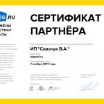 Сертификат партнера REG.RU